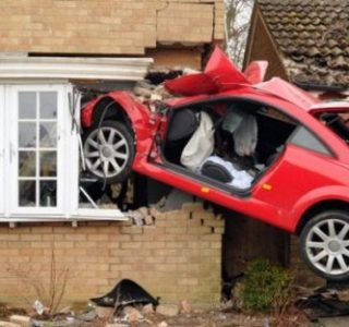 Audi TT Crashed into Side of House (6 photos)