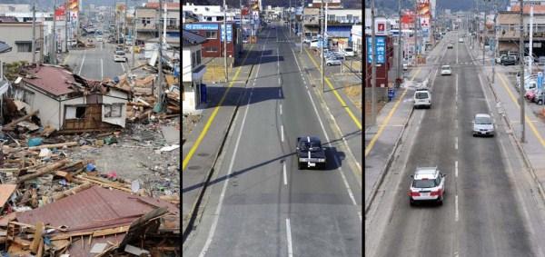 417 Ιαπωνία τσουνάμι Δύο χρόνια πριν και μετά από τις εικόνες (38 φωτογραφίες)