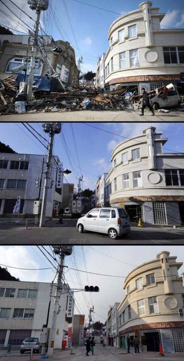 710 Ιαπωνία τσουνάμι Δύο χρόνια πριν και μετά από τις εικόνες (38 φωτογραφίες)