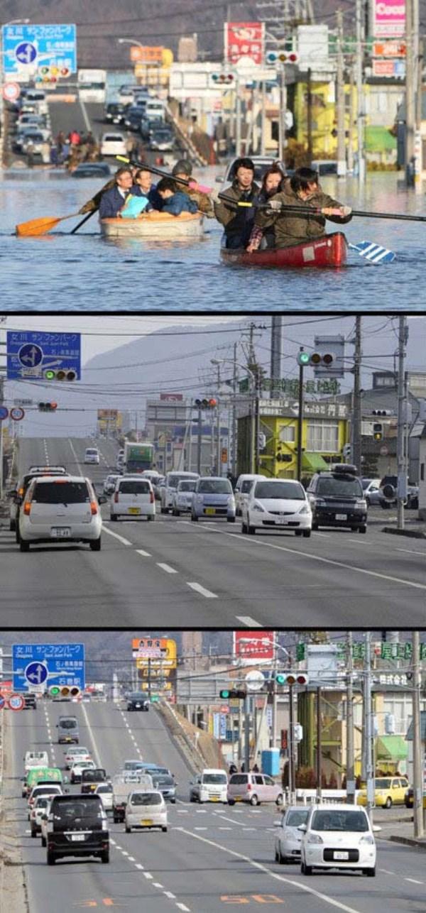 810 Ιαπωνία τσουνάμι Δύο χρόνια πριν και μετά από τις εικόνες (38 φωτογραφίες)