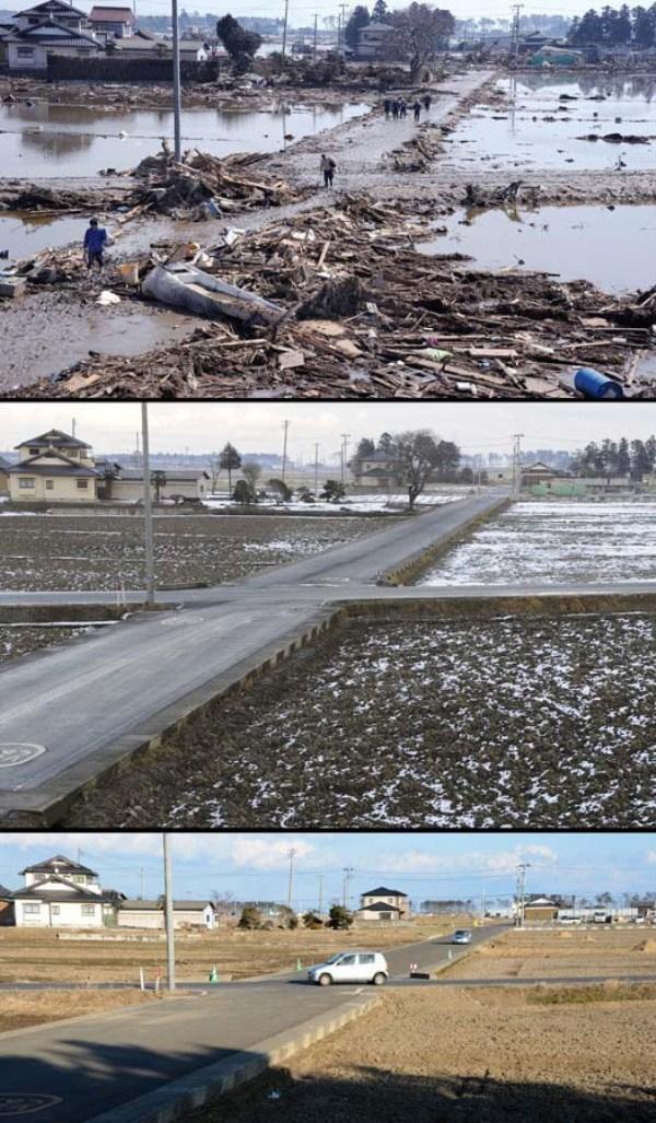 910 Ιαπωνία τσουνάμι Δύο χρόνια πριν και μετά από τις εικόνες (38 φωτογραφίες)