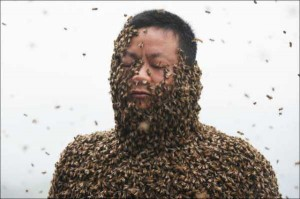 Chinese Beekeper Covers Himself With 460,000 Bees (12 photos) 7