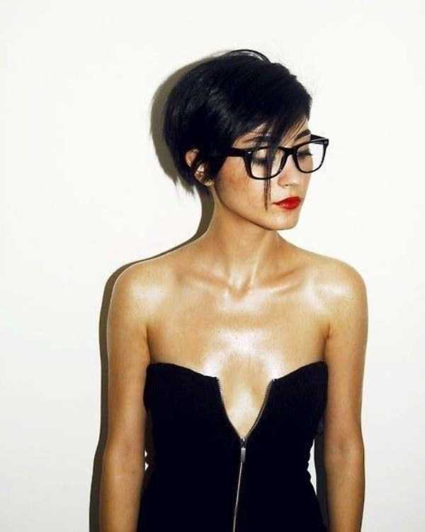 Naked short hairstyle woman photo